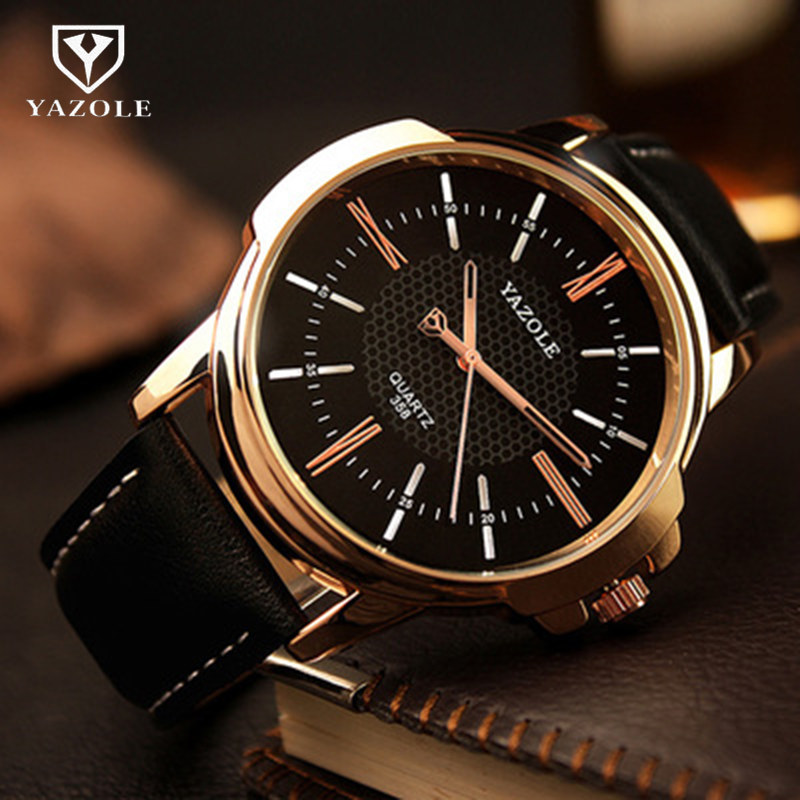 YAZOLE Men's Watches Top Brand Blue Glass Male Watch Waterproof Fashion Leather Roman Luxury Wristwatch Clock Relogio Masculino