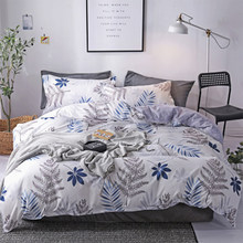 FUNBAKY 3/4pcs/set New Leaves Printing High Quality Queen Comforter Bedding Set Cotton Duvet Cover Set Home Textile(China)