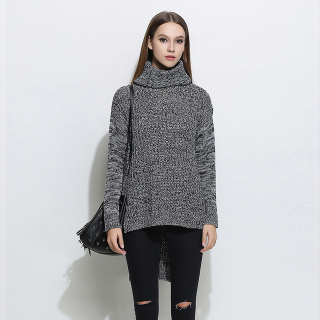18d351cc68d7ea 2019 new sweater in Europe and the big yards dress render turtleneck sweater