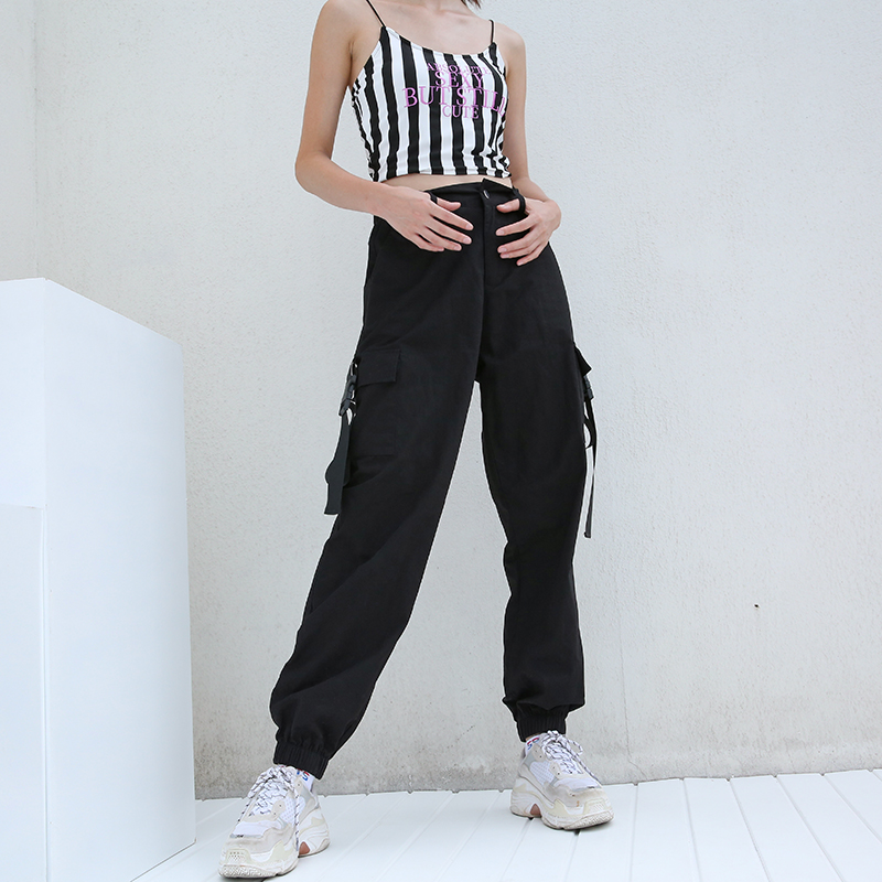 7Sweetown Plus Size Harajuku Cargo Pants Women Black High Waist Pantalon  Bomber Femme Street Style Womens ... 721afe06eae6