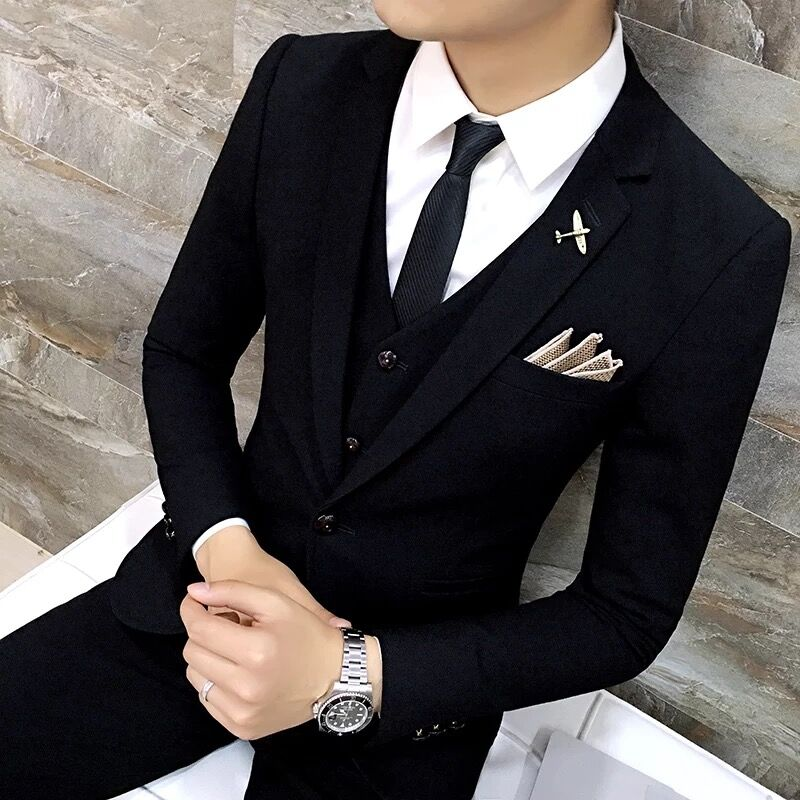 High Quality Men black gold tuxedo men suit black 3 pieces ...