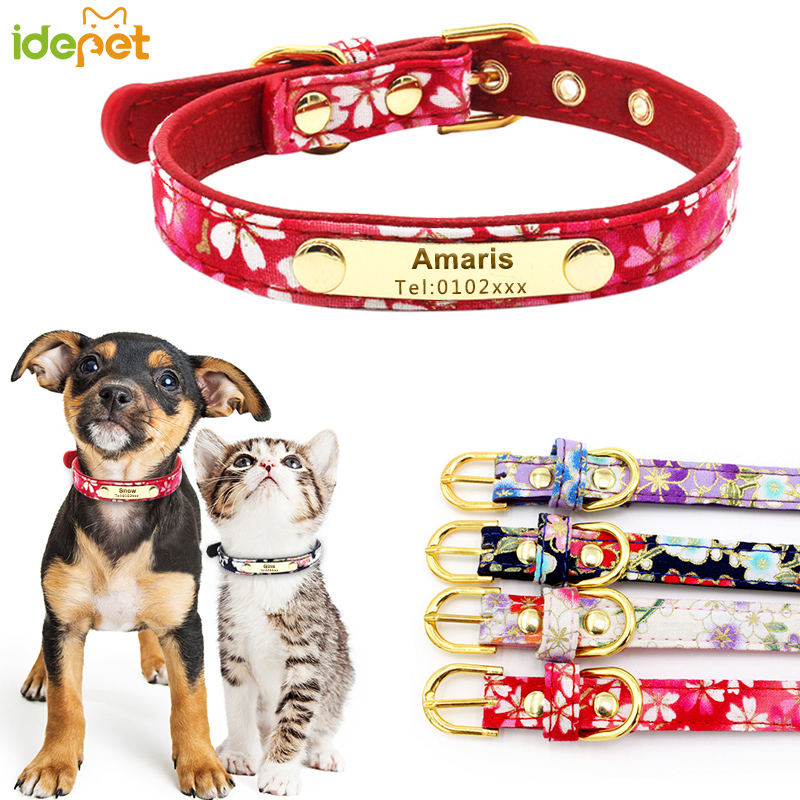 Cat Collar Personalized ID Collar Reflective Leather Customized Engrave Name Phone Number Free Engraving For Puppy Chihuahua 10