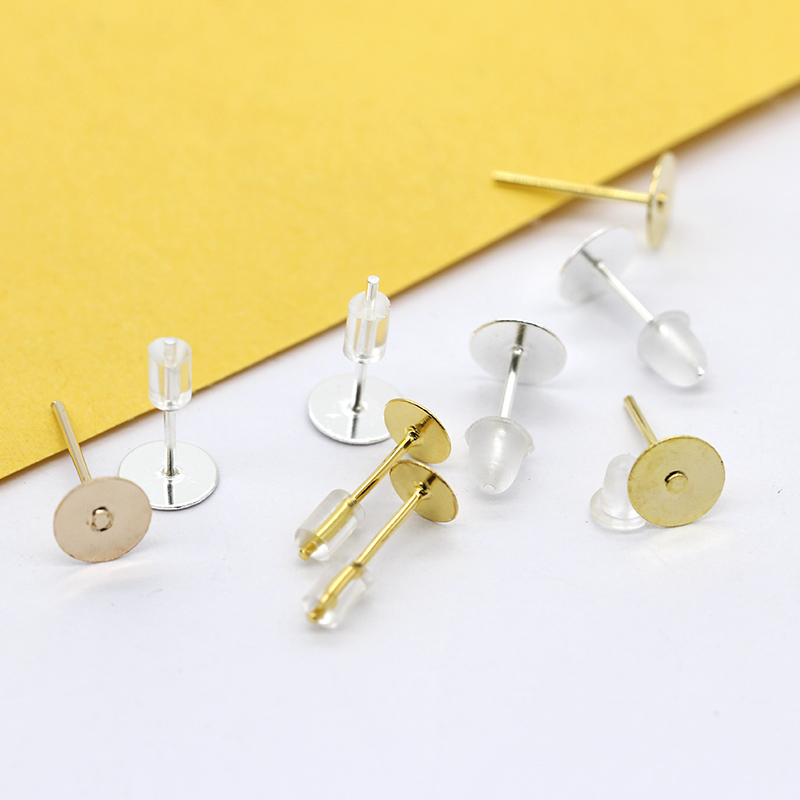 100p 4mm-10mm Gold Silver plated Bronze blank Nail Pin Ear stud Earrings post Flat pad Forms findings jewlery making(China)