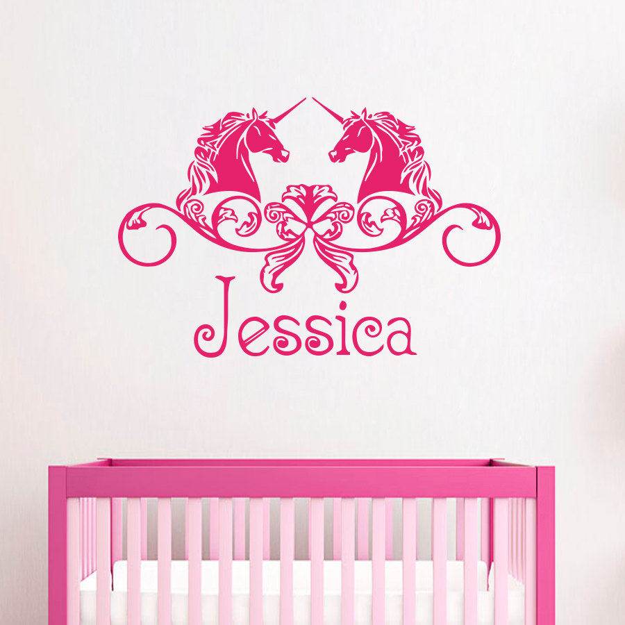Doubled Horse Faries Special Designed Wall Decals Home Children bedroom Sweet Decor With Personalized NAme Wall Sticker Wm-374