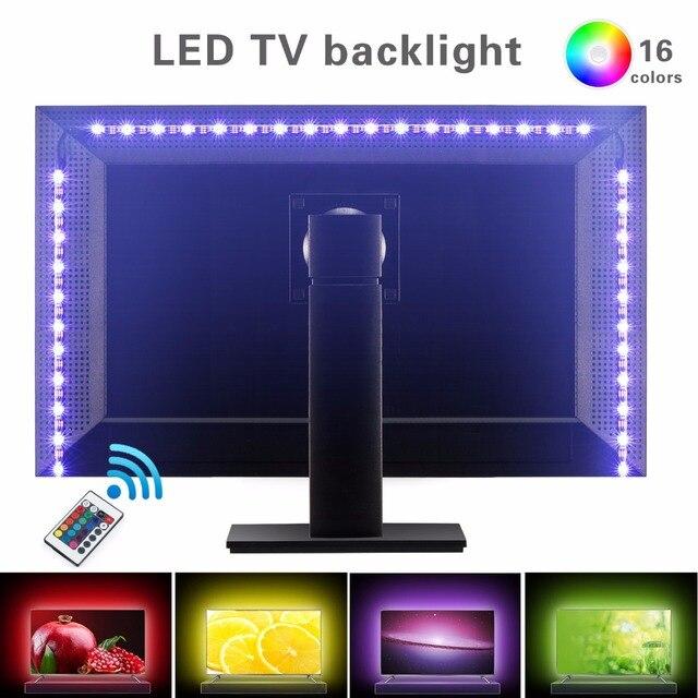 Kohree 80'' RGB Led Strip Light 5V USB Power Led Strips with Remote Control Adhesive Tape TV Screen Home Theater Bias Backlight
