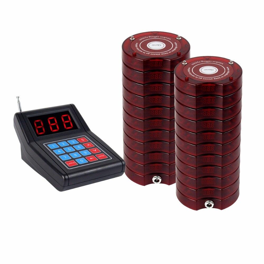Ristorante Cercapersone Wireless di Paging del Sistema di Accodamento 1 Trasmettitore + 20 Cercapersone Montagne A Pagamento Ristorante Attrezzature F4475
