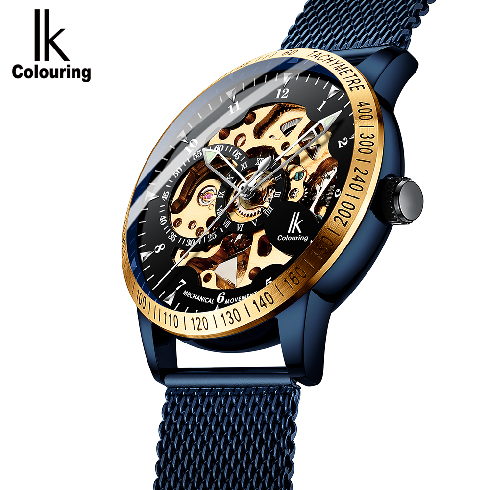 IK Colouring Mens Watches 2018 New Mesh Steel Band Automatic Mechanical Male Clock Skeleton Steampunk Relogio Masculino winner crystal rhinestone analog automatic golden black skeleton steampunk leather band mechanical watches mens relogio pmw422
