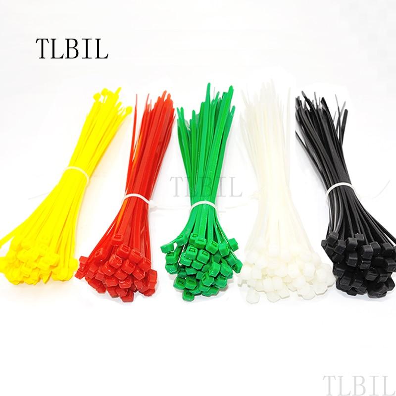 100Pcs Nylon Plastic Ties Zip Trim Wrap Cable Loop Wire Self-Locking Colors