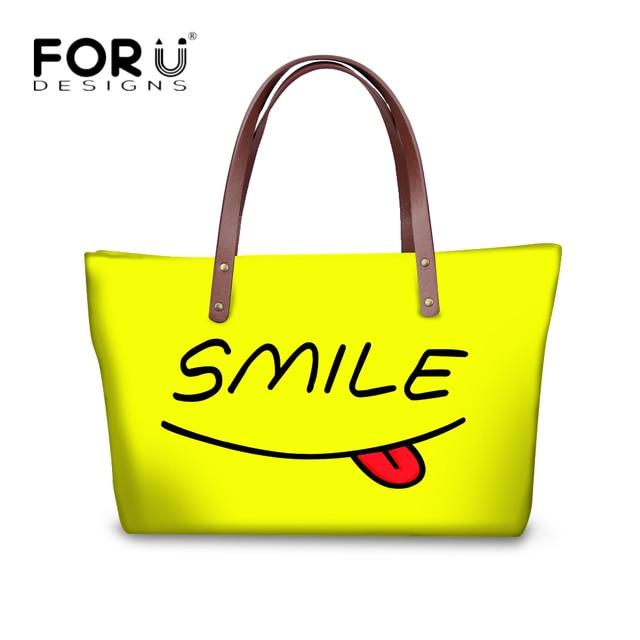 cfd64b96b0 FORUDESIGNS Cartoon Emoji Women Casual Big Shoulder Bags Handbags Women  Cute Smile Pattern Vintage Messenger Bags Bolsos Mujer