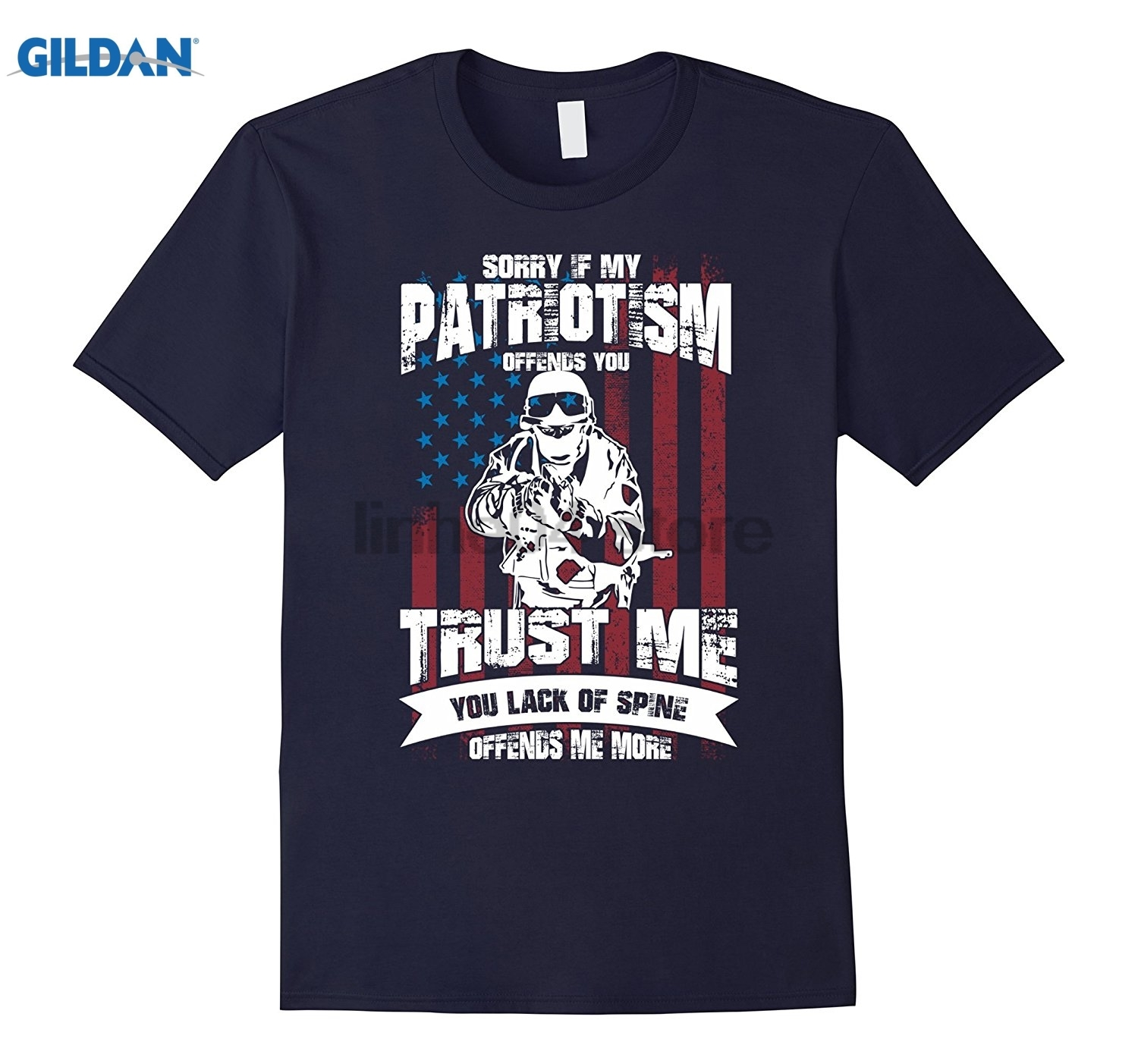 GILDAN Mens Sorry If My Patriotism Offends You Trust Me U.S Flag T-shirt Mothers Day Ms. T-shirt