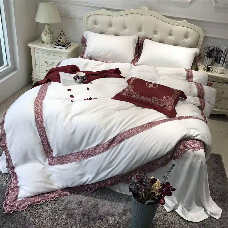Weiß Und Rosa Tencel Stickerei Elegante Stil Bettbezug Satin