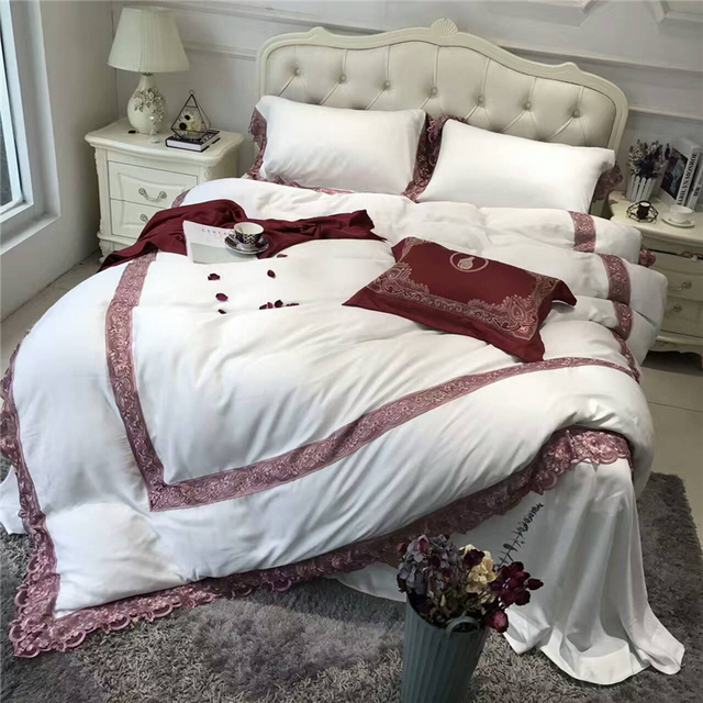 White And Pink Tencel Embroidery Bedding Set Elegant Style Duvet Cover Satin  Bed Linen Bed Sheet