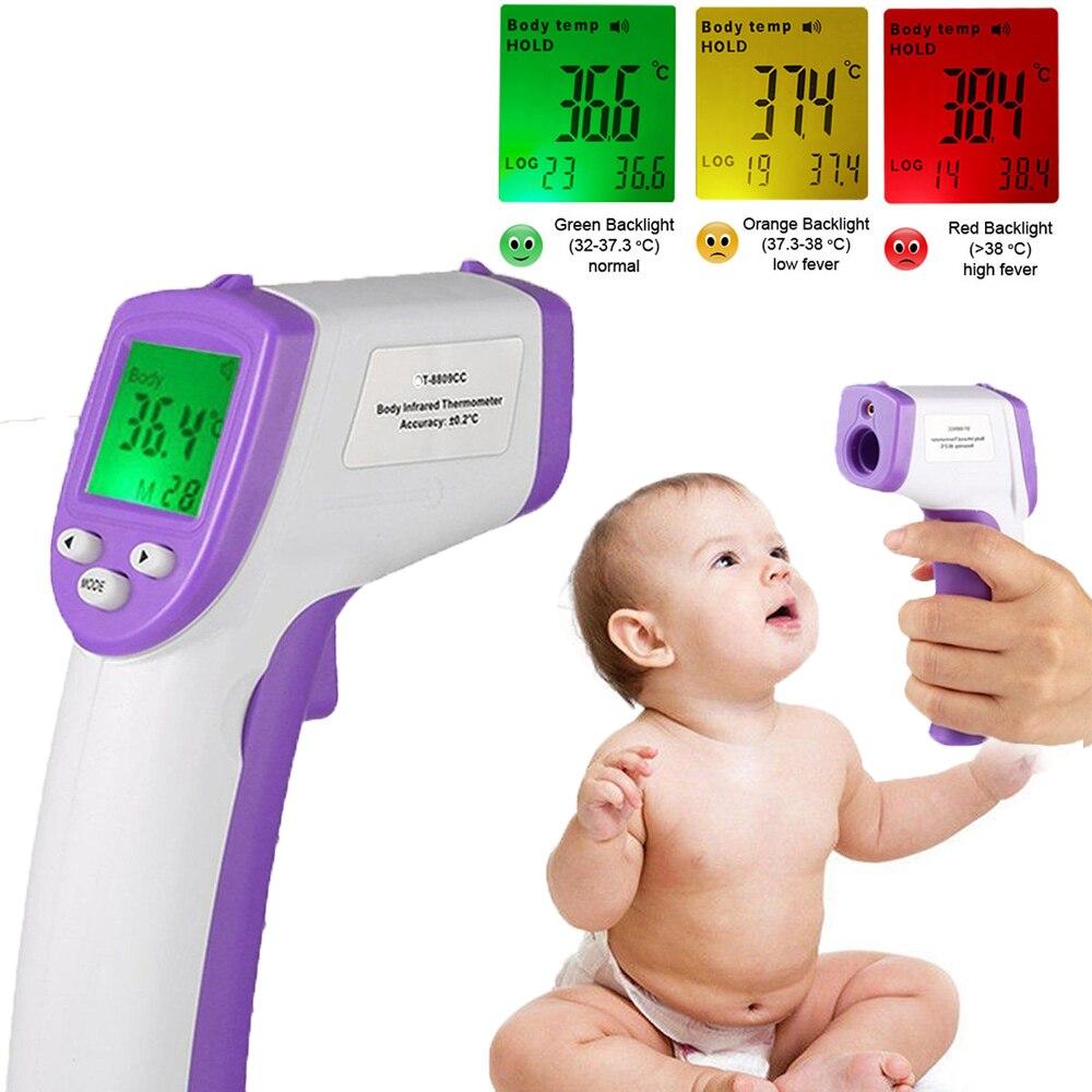Цифровой ЖК-дисплей Бесконтактный ИК инфракрасный термометр лоб Средства ухода за кожей поверхность Температура измерения удержания данных Функция ребенка удобно