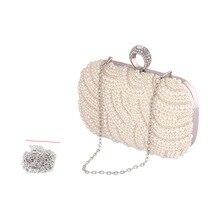 Handgefertigten Perlen Perle Kette Handtaschen Strass Kupplungen Hochzeit Tasche Mini Kupplung Abendtaschen Kristall Boutique Handtasche