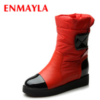 ENMAYLA 3 Colors New Warm Down Fashion Snow Boots Fur Inside Flats Heels Boots Women Winter Boots Red Black White Shoes