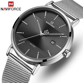 NAVIFORCE 3008 Top Brand Fashion Quartz Waterproof Wrist Watches Men Stainless Steel Mesh Sports Watch