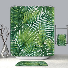 3D Tropical Plants Shower Curtains Leaves Pattern Waterproof Mildew Proof Thickened Bath for Bathroom