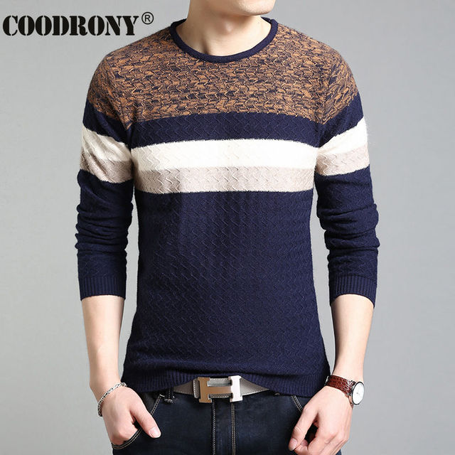 88165f70026af COODRONY O-cou Rayé Pull Hommes Automne Hiver Casual Hommes Chandail  Tricoté Coton Slim Fit