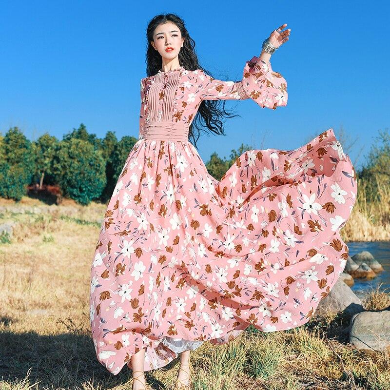 Soie Mousseline Plage Robe Douce Mode Maxi retour Longue Manches rose De Bleu Fleurs À Printemps Marque Imprimer Vacances Corne Dame Vent Nouvelle 2018 CxXAwq4YW