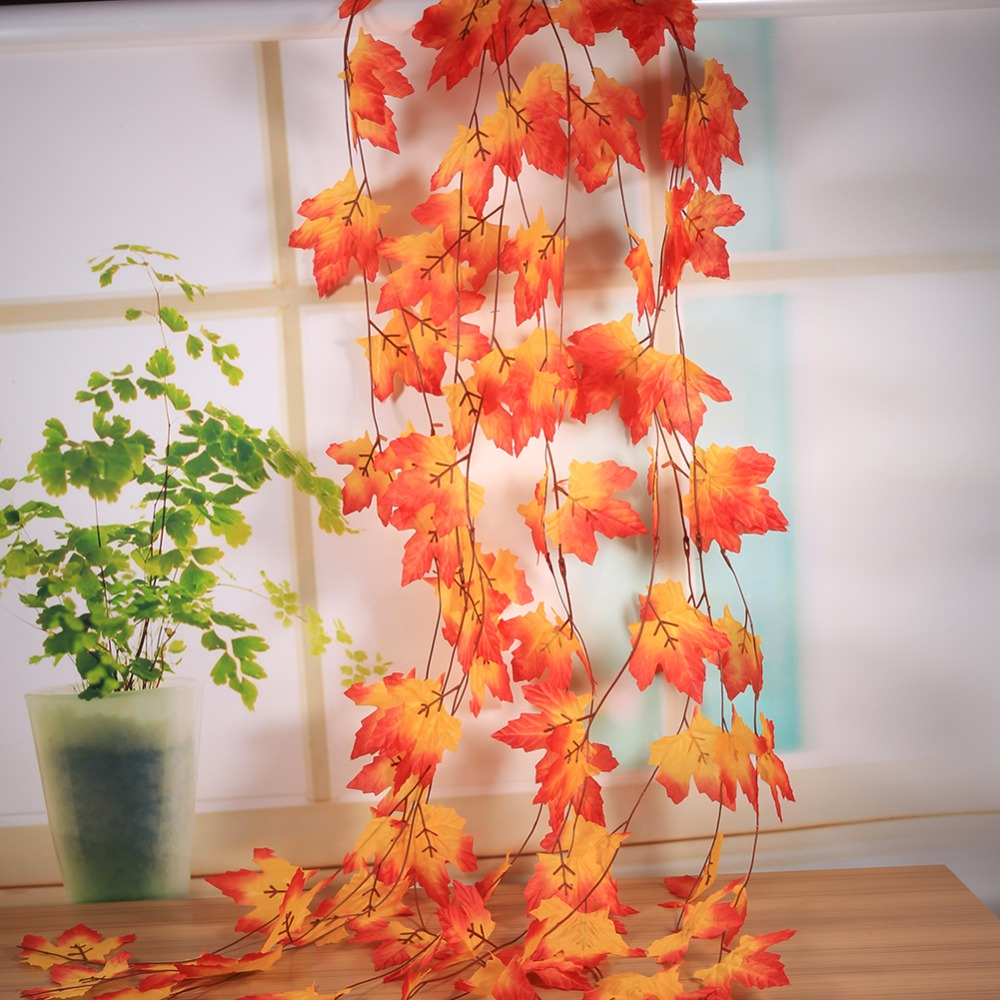 10x artificial fall maple leaf decorative flowers garland for autumn weddings parties garden decor decoration - Fall Decorations For Sale