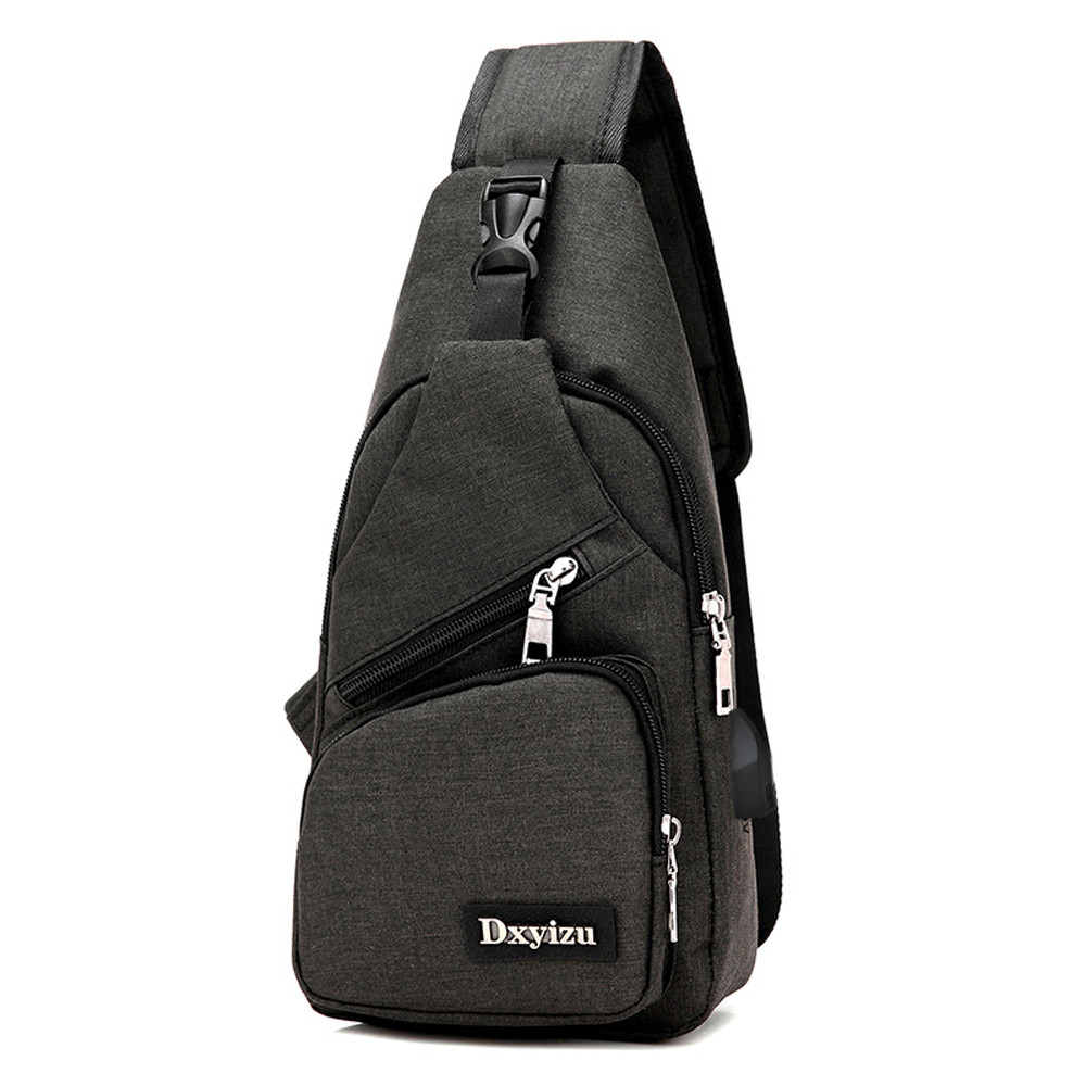 Hot-Selling USB Unisex Design Sling <font><b>Bag</b></font> Large Capacity Handbag Crossbody <font><b>Bag</b></font> Rucksack Daypack Canvas Fashion <font><b>Man</b></font> Chest Pack image