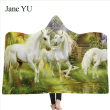 JaneYU 2019 explosive hooded blanket cloak thickened with double plush 3D digital printed unicorn series decoration