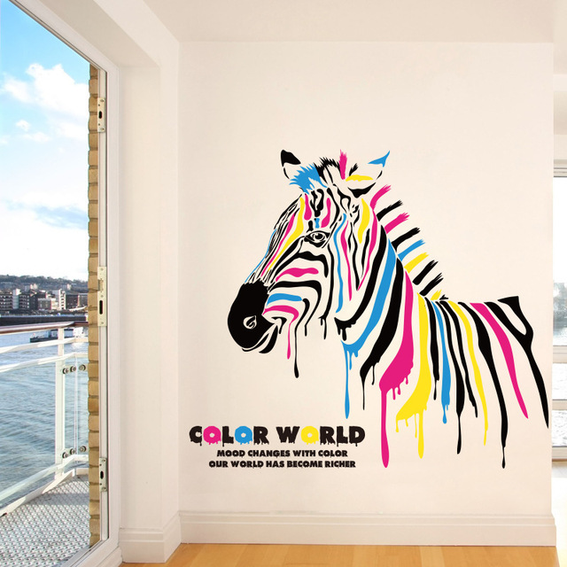 Brand New 2017 Colorful Zebra Wall Stickers Animal Mural Vinyl Quote Wall  Sticker Decals Home Decor