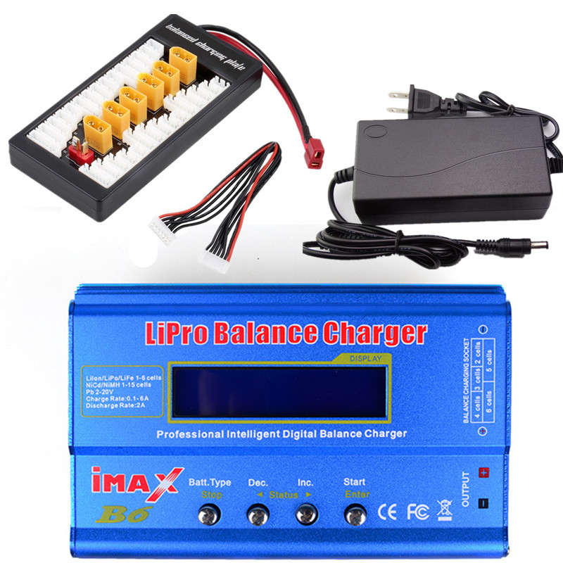 New iMAX B6 LCD Screen Digital RC Lipo NiMh Battery Balance Charger + XT60 / T Plug Adaptor Board 2 6S + 12v 6A Power Adapter