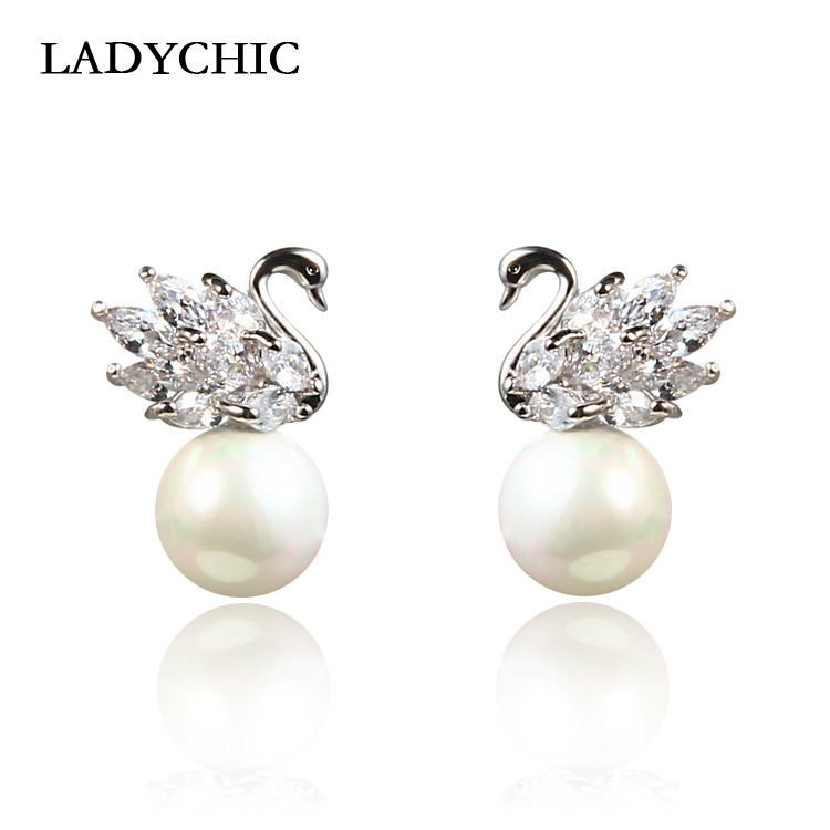 LADYCHIC Stud-Earrings Swan Fashion Jewelry Birthday-Gifts Silver-Color Women Cute