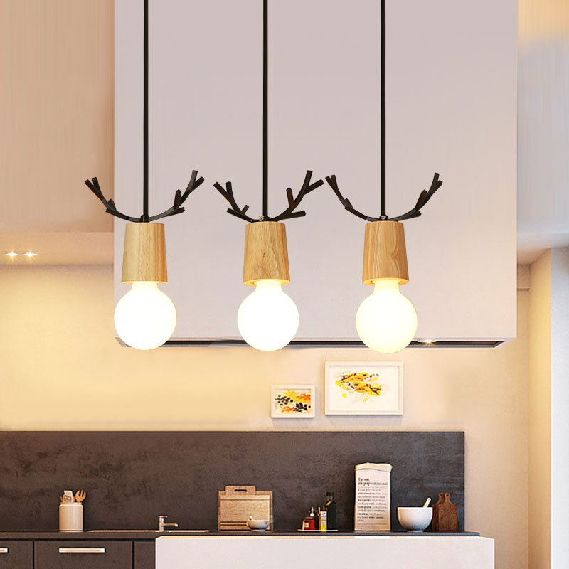 Nordic Metal Antler Wooden Dining Room Pendant Light Restaurant Wooden Top Pendant Lamp Bar Counter Living Room hanging Lamps