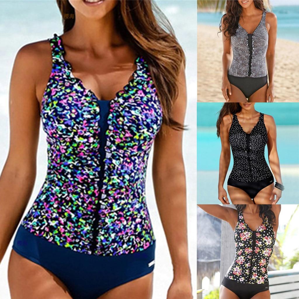 Bikinis 2020 mujer Women Swimming Tankini Padded One-piece Swimsuit Push Up Bikini Set Swimwear Cover up maillot de bain femme 1