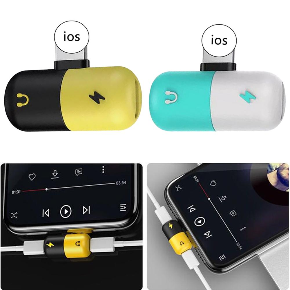 2 in 1 Dual USB Charging Audio Adapter <font><b>For</b></font> <font><b>iphone</b></font> <font><b>X</b></font> 7 8 Plus <font><b>Headphone</b></font> Music Converter <font><b>for</b></font> IOS Audio Charger Splitter <font><b>Connector</b></font> image