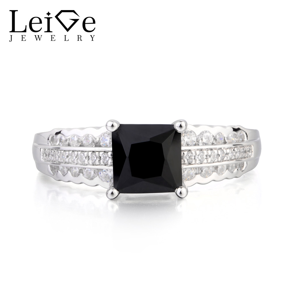 Leige Jewelry Cocktail Party Ring Natural Black Spinel Ring Princess Cut Gemstone Genuine 925 Sterling Silver Gifts for LadyLeige Jewelry Cocktail Party Ring Natural Black Spinel Ring Princess Cut Gemstone Genuine 925 Sterling Silver Gifts for Lady