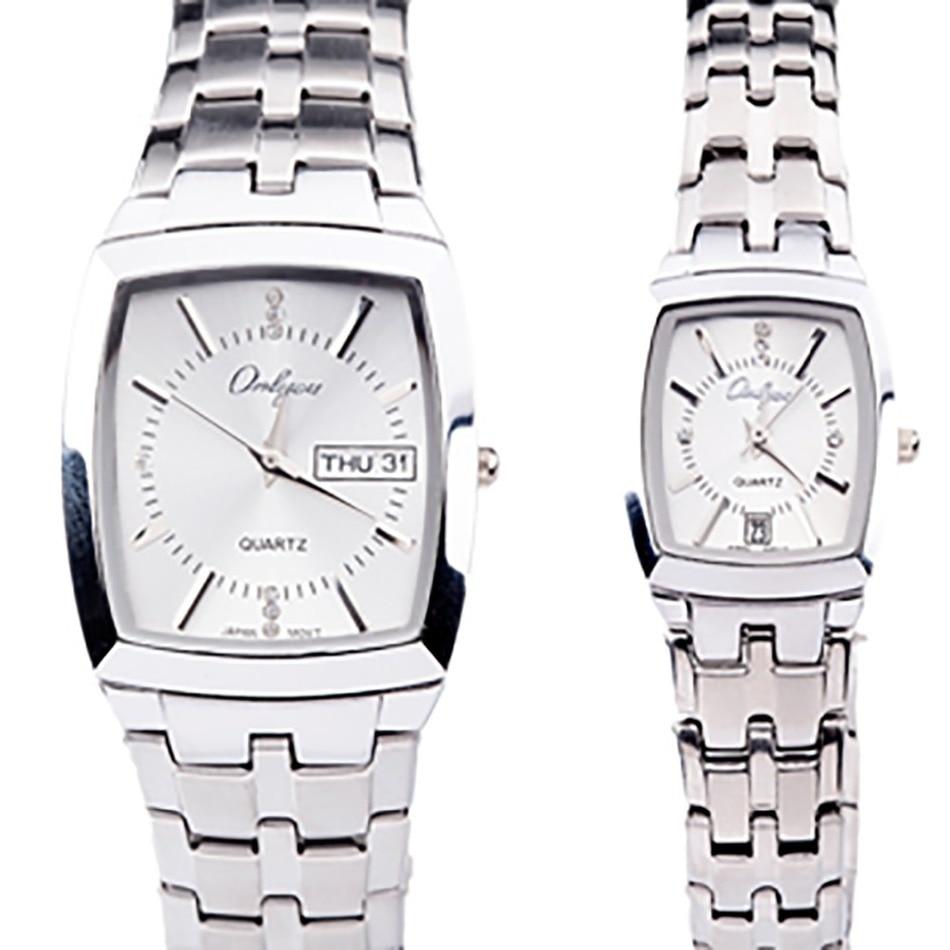 Onlyou Luxury Brand Quartz Watch Men Women Lovers Rectangle Shape Black Gold Business Wristwatches Stainless Steel