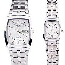 Onlyou marca de lujo reloj de cuarzo mujeres de los hombres amantes de la forma del rectángulo negro de aleación de oro relojes de pulsera de negocio de acero inoxidable 8739