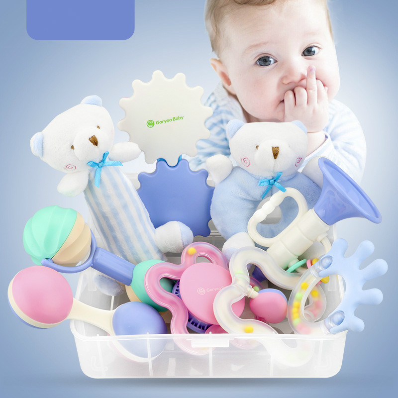 baby toddler Toys plastic cement safe ABS disphenol A safe silicone soft colors rattling 9 sets souvenir bag boy girl Xmas gifts