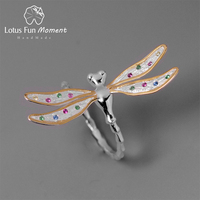 Lotus Fun Moment Real 925 Sterling Silver Handmade Fashion Jewelry Multicolor Zirconia Beautiful Dragonfly Design Rings