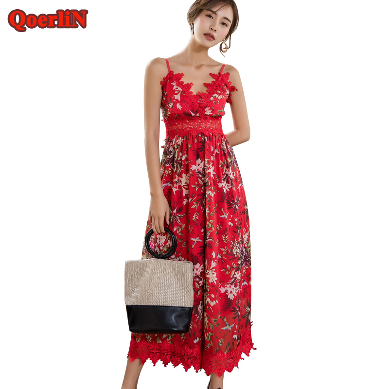 QoerliN 2018 Summer Beach Printed Loose Casual Jumpsuits Women Beading  Bandage Romper Female Plus Size Overalls Girls Playsuits 03ee5b0d0756