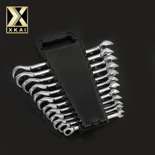 XKAI 12 шт. 8-19 мм трещотка гаечный ключ комбинированный ключ набор ключей трещотка Скейт инструмент трещотка ручка хром ванадий