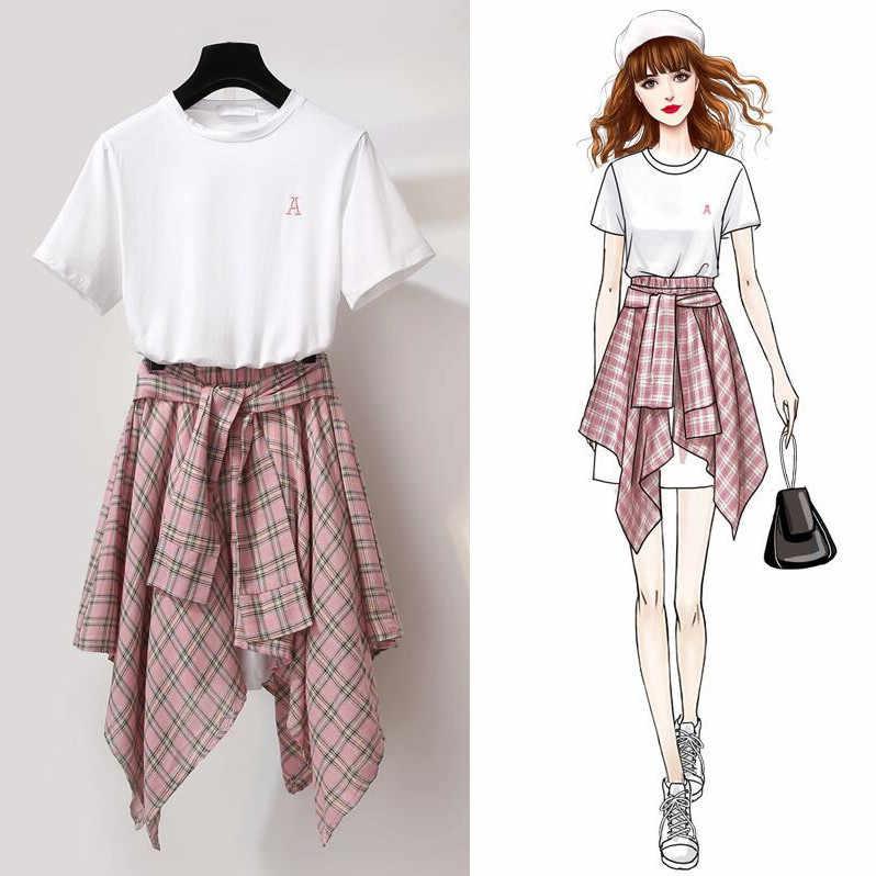 ICHOIX váy Sọc Bộ 2 Bộ Áo Thun Nữ Hai bộ trang phục sreeetwear thường ngày 2 mảnh mùa hè Bộ sinh viên phù hợp với