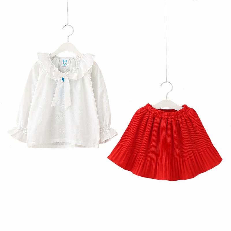 2018 Summer Girls Skirt Set Children Set Girls School Shirt +skirt 2pcs Long Sleeve High Quality 4Y-12Y skirt junona skirt
