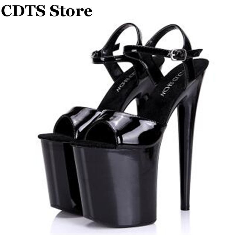 CDTS:34-44 Fashion Crossdresser Buckle Sandals 20cm thin heels shoes platform paint leather Crossdresser SM shoes woman pumps напольная акустика paradigm persona 9h aria metallic blue