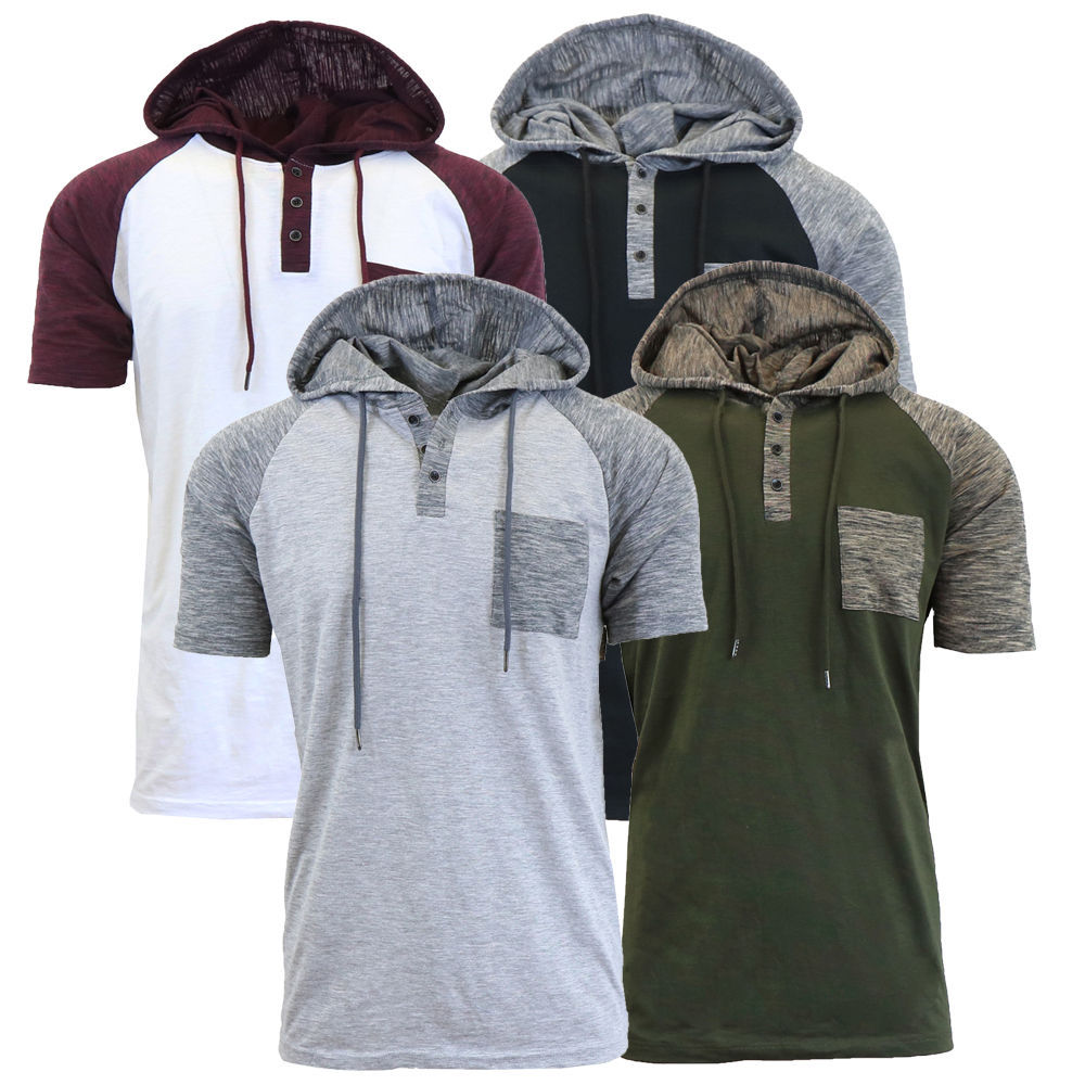Casual T Shirt Men Fashion Contrast Color Mens Hooded T-shirts Short Sleeve Tops Tee