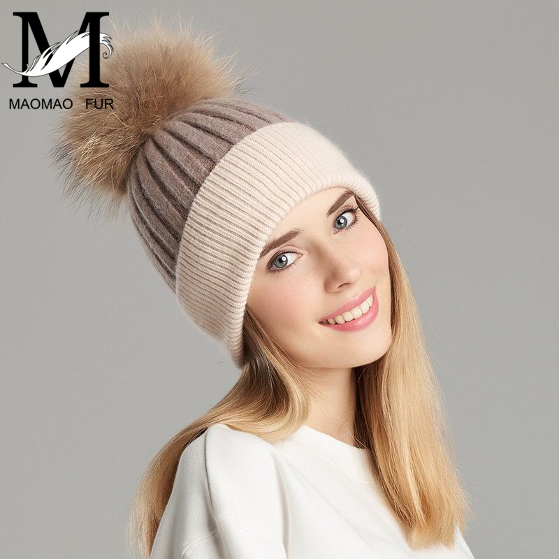 Women Real Fur Pom Pom Hat Female Winter Wool Autumn Knitted   Beanies   Fur Ball Cap Ladies Cashmere Natural Raccoon Fur Pompom Hat