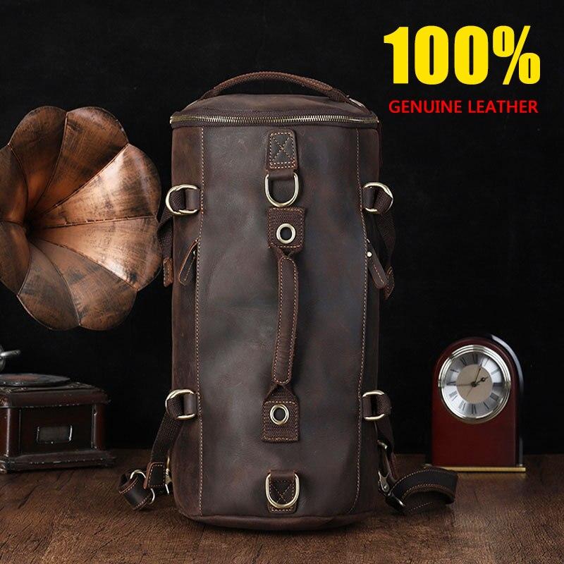 CHARA'S BAG Brand Men Genuine Leather Travel Bag 100% Cow Leather Travel Handbags High Capacity Men/women Travel Bags Handbags