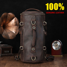 CHARAS BAG brand men genuine leather travel bag 100% Cow Leather handbags High capacity men/women bags