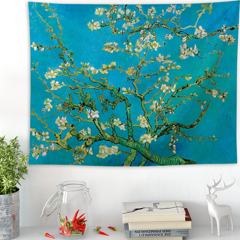 Lannidaa Van Gogh Drape Tapestry Almond Blossoms Flowers Tapestry Wall Hanging Floral Wall Sheet Hippie Decor Flower Home Decor
