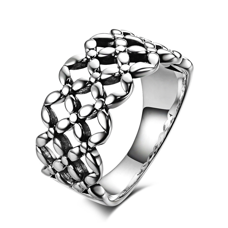 Fashion flower cutout ring women men 925 sterling silver accessories free carving - CRYSTAL BEADS store