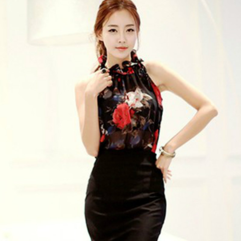 print chiffon sexy sleeves Strapless halter women's clothing blusas  3