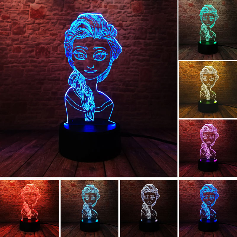 Princess Elsa Anime Figure 3D Illusion LED Nightlight Colourful Touch Flash Light Desk Lamp Bedroom Toys for girls Best Gift
